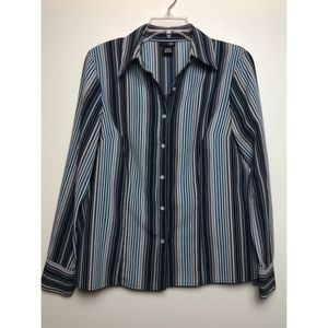 East 5th Blue Pin Striped Long Sleeve Button Down